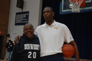 I am 6 feets tall, but Mutombo id towering me like am a baby